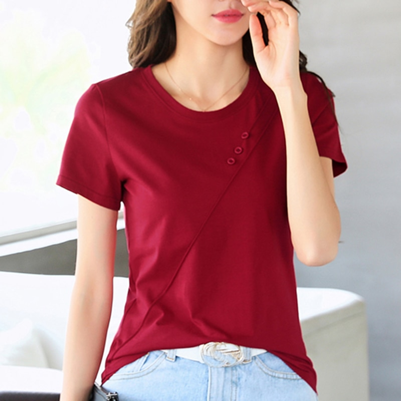 LJSXLS 2021 Summer Women Solid T-Shirt Korean Version Casual Buttons Short Sleeve Tshirt Female Red Wine Show Thin Loose Tops