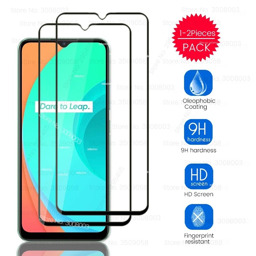 1/2 pces realmi c 11 vidro temperado para oppo realme c11 2020 rmx2185 6.5 protectors protectors tela de toque de exibição do telefone protetores filme em realmec11