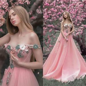 Hand Made Flower Prom Dresses Pink Sexy Off Shoulder Pearls Beading A Line Evening Gowns Illusion Tulle Appliques Party Dress