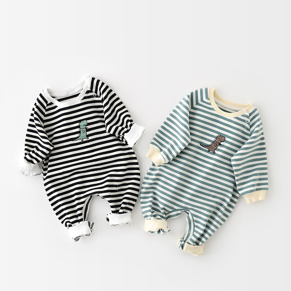 Paoke2021 new children's striped dinosaur embroidery long sleeve spring summer Jumpsuit