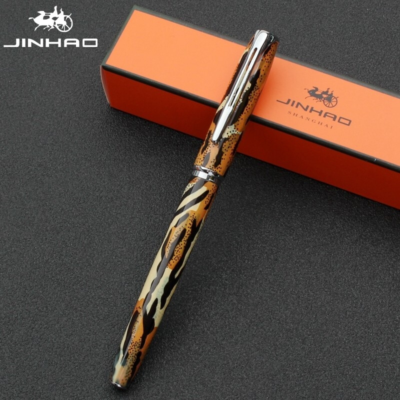 Jinhao 996 Leopard Fountain Pen New Style Luxury Financial Ink Pen Fine Nib Converter Filler Stationery Office School Supplies sales jinhao 500 unique black engraving luxury stationery school fountain pen and office to write ink pen