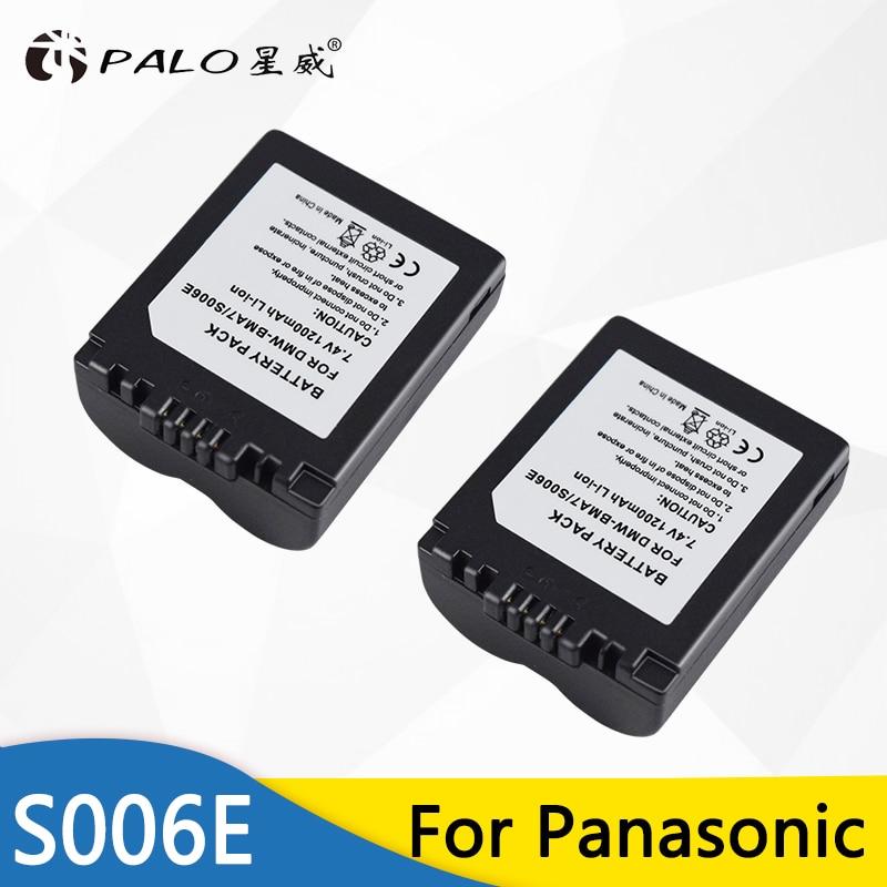Palo 2 шт. CGA-S006 S006E 1200 мАч литий-ионная CGR-S006E DMW-BMA7 для камеры CGR-S006A для Panasonic DMC-FZ7 FZ8 FZ18 FZ28 FZ35 FZ50