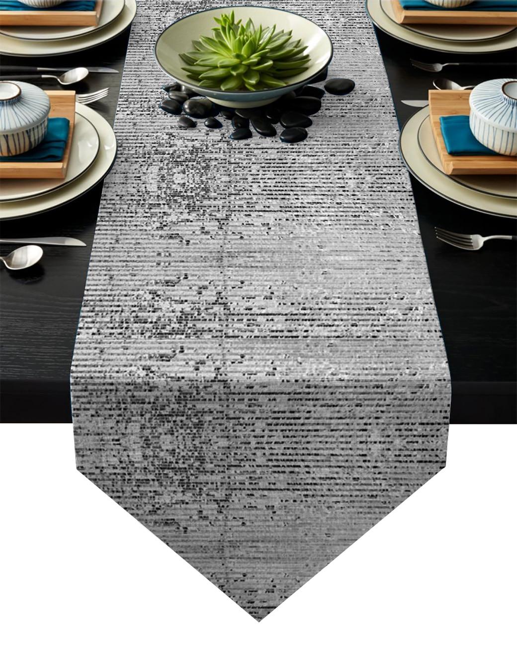 Placa plateada de lentejuelas Rectangular brillante camino de mesa bandera decoración de fiesta casera mantel caminos de mesa