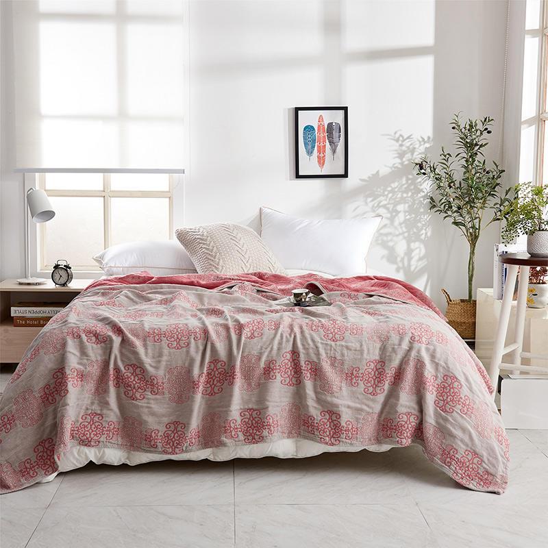 مفرش سرير منقوش من القطن بفيونكة صينية حمراء ، بطانية صيفية