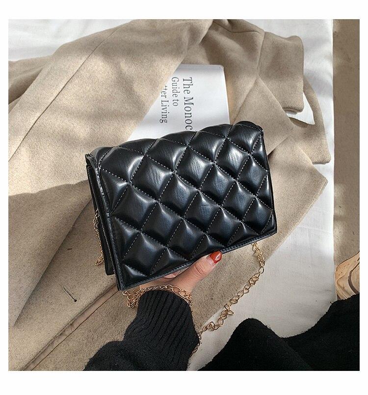 العلامة التجارية مصمم منقوشة مبطن المرأة حقيبة كروسبودي سلسلة الموضة حقيبة ساعي مربع صغير
