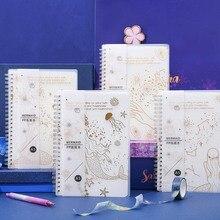 Kawaii cahier créatif doré ciel étoilé A5 Laser éblouir cahier ligne horizontale grille bloc-notes mignon fournitures scolaires papeterie