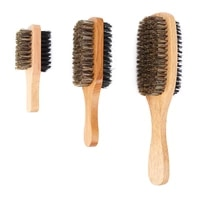new men boar bristle hair brush natural wooden wave brush for malestyling beard hairbrush for short long thick curly wavy hair