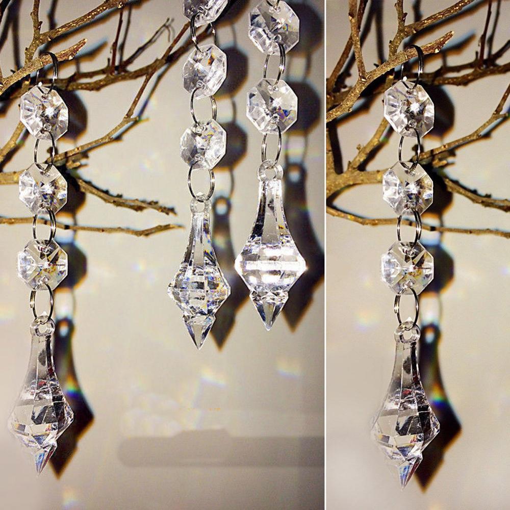 1 шт. восьмиугольные Хрустальные акриловые бусины подвеска прозрачные гирлянда