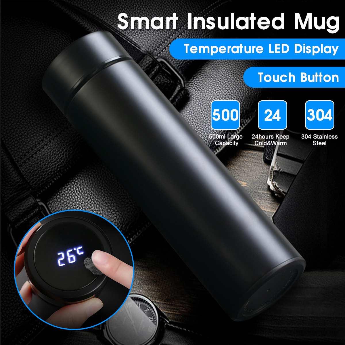 Botella de vacío con pantalla LCD de temperatura portátil de 500ml, taza Drinkwar para café, té, leche, taza de viaje, botella térmica de agua de acero inoxidable