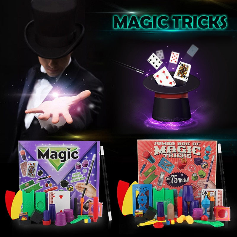 Truques mágicos conjunto caixa de brinquedo magia adereços conjunto clássico crianças 11/17 tipos adereços gigick cartão crianças magia mostrar presente crianças puzzle brinquedo