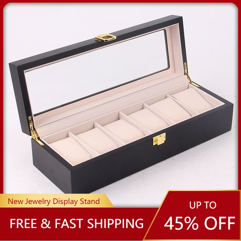 12 Slots Wooden Watch Box Case Organizer Display for Men Women, Wood Box with Clear Glass Top, Vintage Style double layer luxury storage watch box slots best gift for women makeup rose wood collect box vintage case family storage box