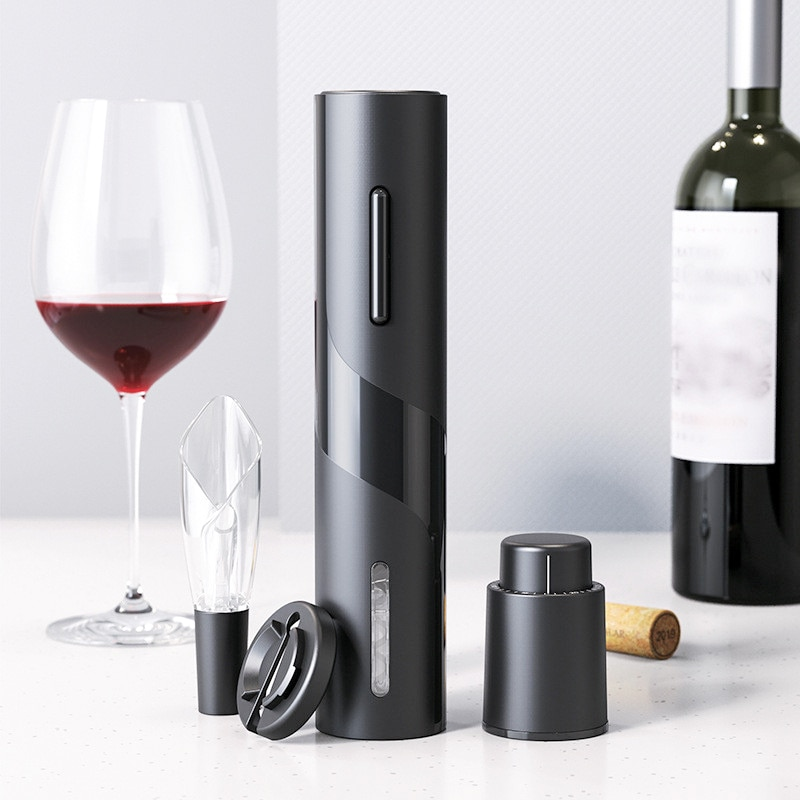 4 Pcs Set Electric Wine Opener Creative Rechargeable Automatic Corkscrew Bottle with USB Charging Cable Kitchen Tool