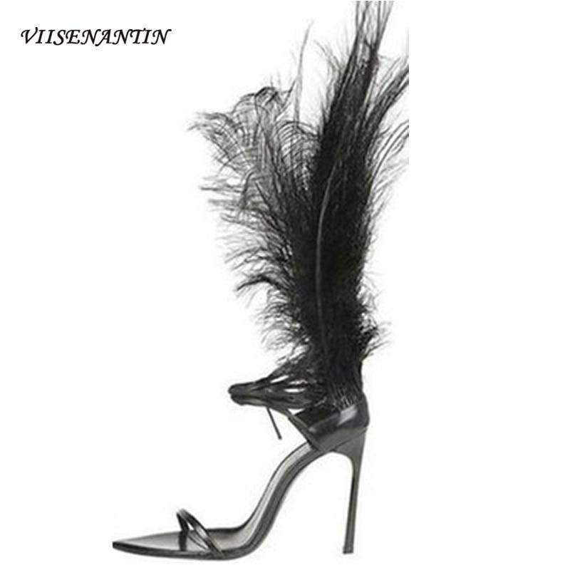VIISENANTIN 2020 New Summer Stiletto Catwalk Sandals Trendy Eomen's Feather Decoration Open-toe High-heel Cross Strap Sandals