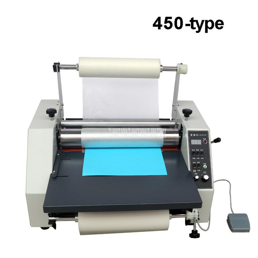 Máquina laminadora de película A3 A4 de 44cm de ancho, papel de álbum fotográfico, rodillo de acero de un solo lado, laminadora automática en frío/caliente, tipo 450