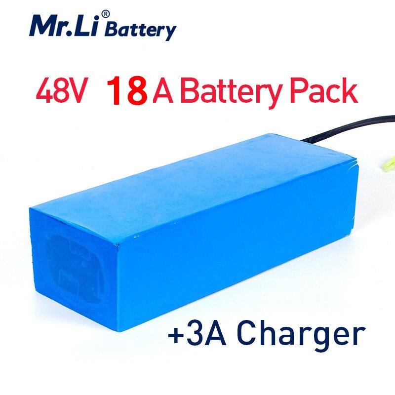 Mr.Li 48V 18Ah Lithium-ionen Akku PVC Fall für Elektrische Fahrrad mit 54,6 V EU/UNS 3A ladegerät