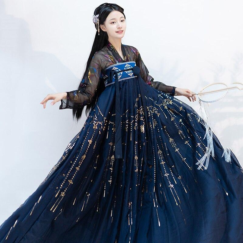 النساء Hanfu فستان جنية سلالة تانغ القديمة زي الصينية الشعبية راقصة أداء الملابس السيدات مرحلة عرض الزي DNV12770