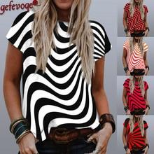 Stripe Graphic Print T-Shirt Women 2021 Summer Round Neck Short Sleeve Tops Casual Tees Harajuku Plus Size Loose Tshirts