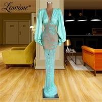 lowime middle east dubai women party dress formal long evening gown 2021 plus size mermaid celebrity dresses beaded prom dresses