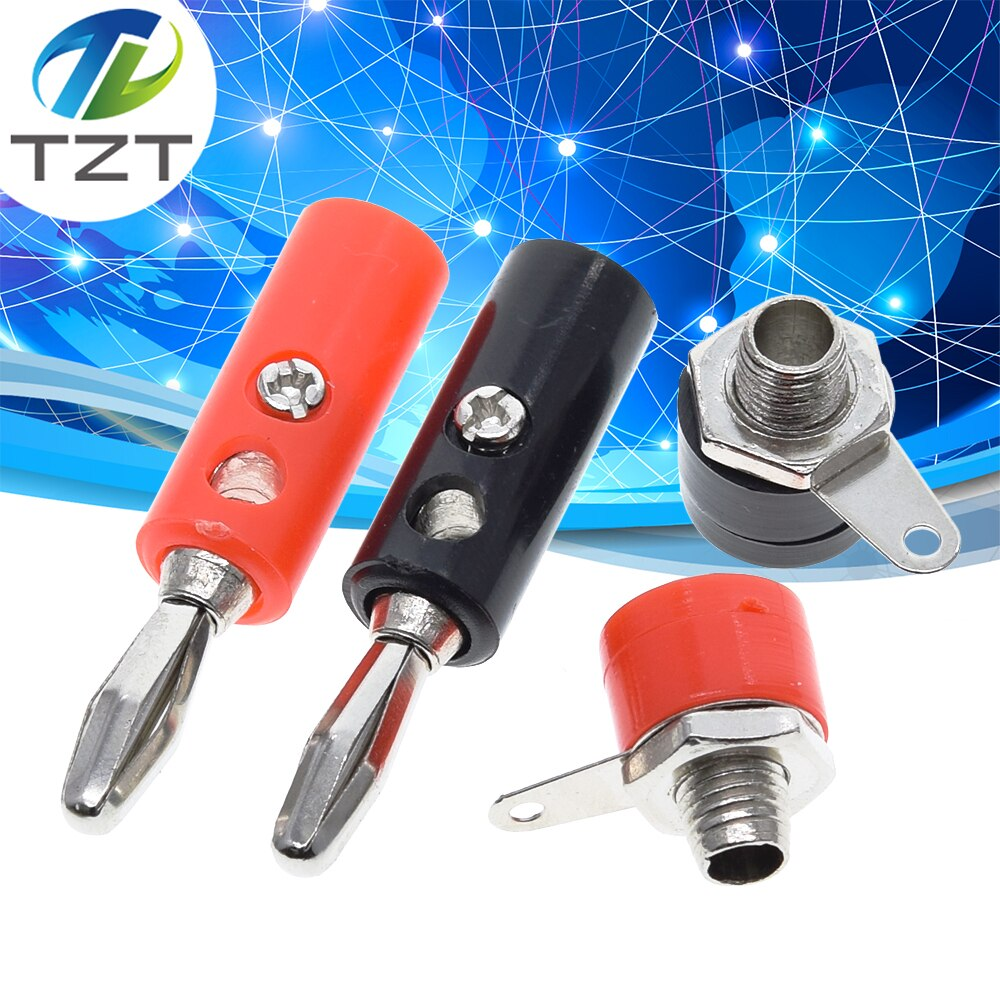 Tzt 1 conjunto masculino e feminino j072 4mm banana plug macho e feminino para inserir conector banana pino diy modelo peças
