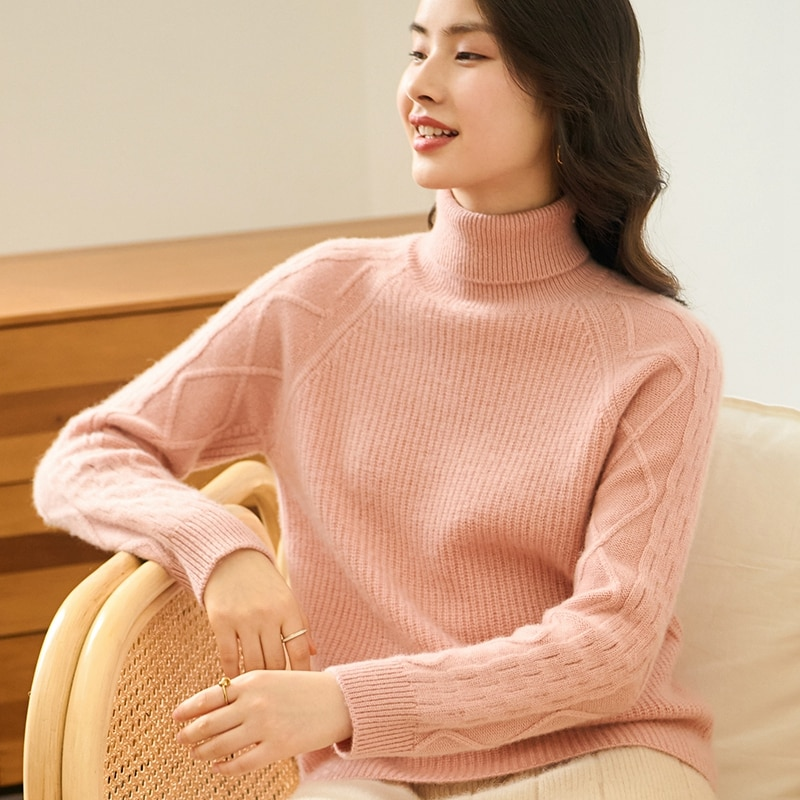 Tailor Sheep Winter 100% Cashmere Sweater Women Turtleneck Thicken Jumper Loose Cosy Long Sleeve Casual Fashion Solid Pullover enlarge
