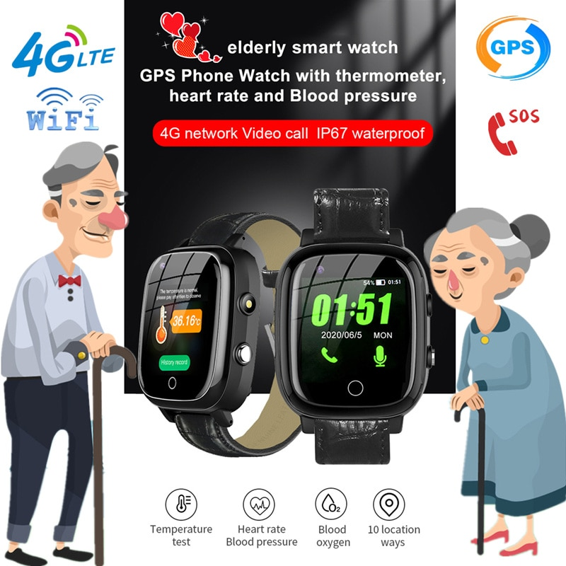 Get S5P 4G Elderly smart watch Smartwatch Heart Rate GPS WIFI Positioning Track Watch Voice Chat SOS Video Call Alarm Clock Old man