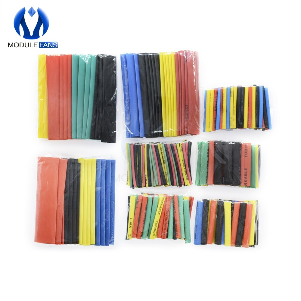 164PCS 328Pcs 530PCS Car Electrical Cable Tube kits Heat Shrink Tubing Wrap Sleeve Assorted 8 Sizes Mixed Color