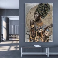 african black woman canvas painting abstract african girl posters and prints cuadros wall art picture for living room home decor