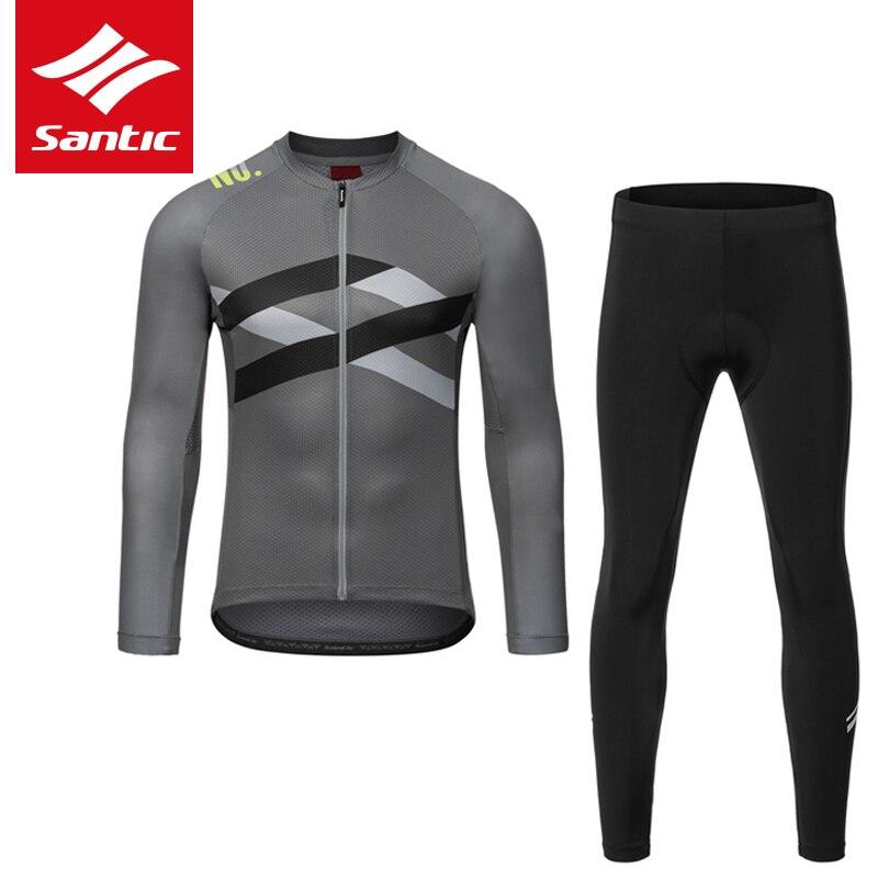 Santic Pro Cycling Jersey Set Men Cycling Sets Bicycle Long Sleeve Tops Suits MTB Road Jacket Pants Spring Summer Bib Pants Suit