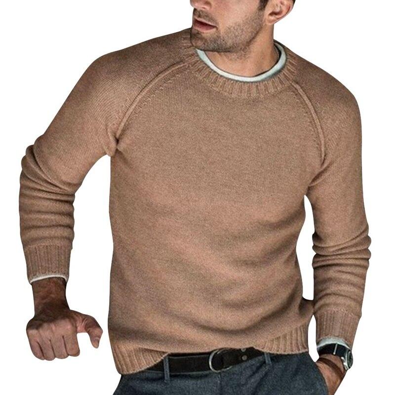 Suéteres tejidos de lana para hombre, ropa de invierno de punto con cuello redondo cálido, Jersey informal de punto para hombre