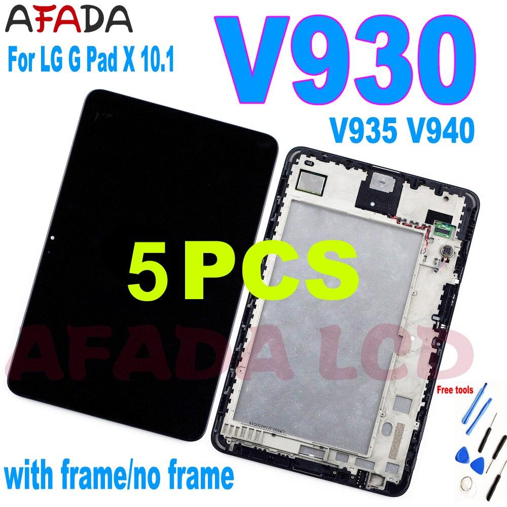 5 قطعة LCD ل LG G الوسادة V930 V935 V940 شاشة الكريستال السائل مجموعة المحولات الرقمية لشاشة تعمل بلمس مع الإطار ل LG G Pad V930 LCD استبدال