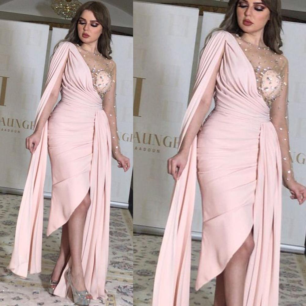 Вечернее платье русалки, длинное сексуальное платье с разрезом в Дубае, арабское розовое шифоновое платье для выпускного вечера, вечернее п...