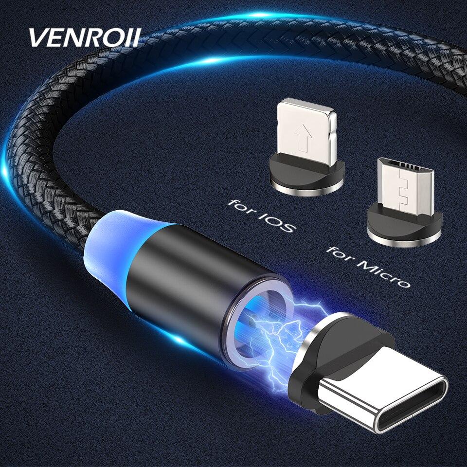 Venroii magnético Micro USB Cable de carga rápida USB-C tipo C Cable para Samsung S8 S9 S10 Xiaomi Redmi Nota 8 imán Cable de cargador