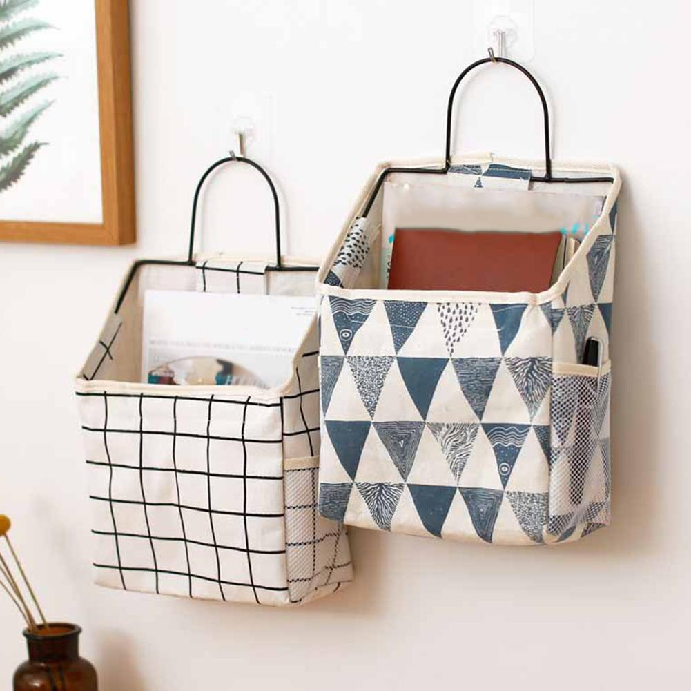 new lattice Hanging storage bag Bedside Storage Organizer Dorm Room Phone Book Magazine Storage Bag Holder with Hook Bed Pocket