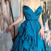 uzn elegant turquoise v neck satin ruffles prom dress hot sale spagetti straps a line long evening dress plus size party dress
