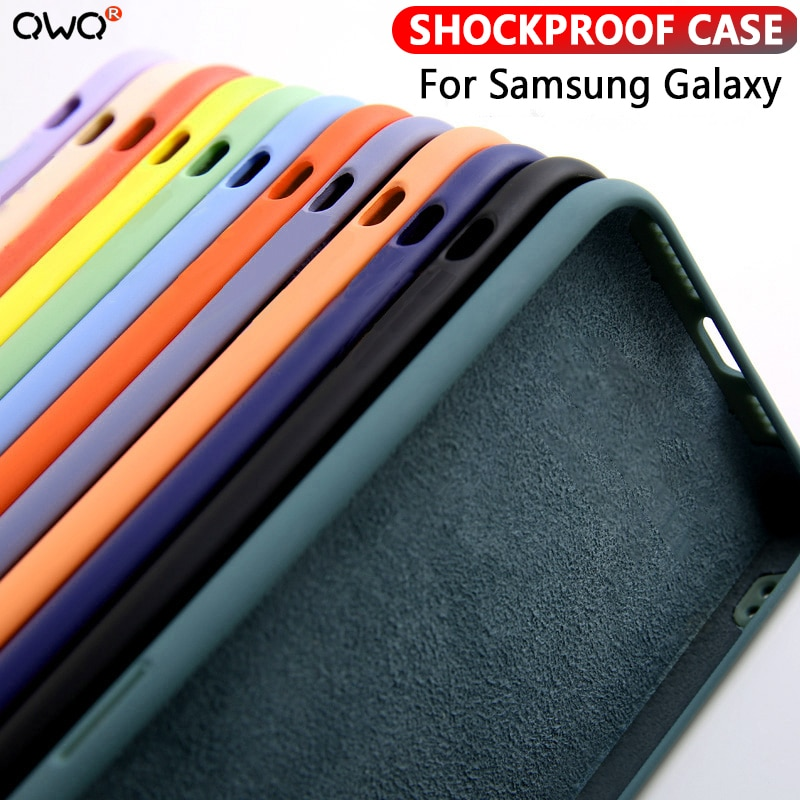 Líquido de silicona caso para Samsung Galaxy A50 A50s A10 A70 A20 A30s A40 A51 A71 S8 S9 S10 S20 Nota 8 9 10 más a prueba de golpes a prueba de cubierta