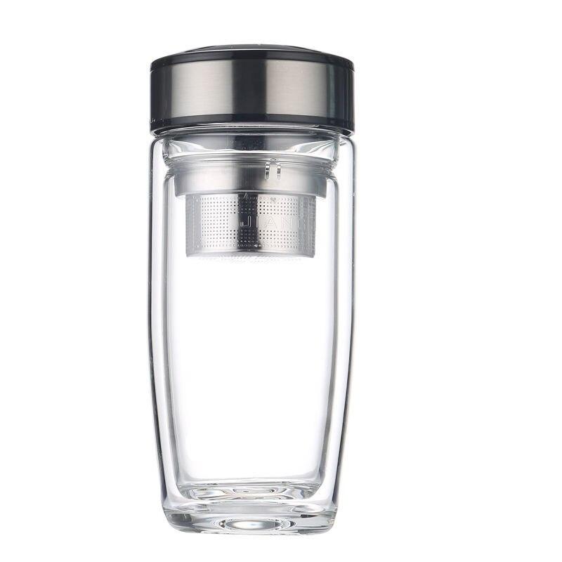 طبقة مزدوجة الزجاج الذكور المحمولة شرب كوب العزل مكافحة سقوط الإناث صافي أحمر شفاف سماكة العزل تصفية الشاي