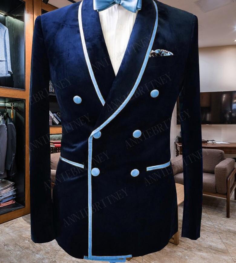 ANNIEBRITNEY أحدث معطف بانت تصاميم مزدوجة الصدر سليم صالح الرجال بدلة الزفاف سهرة مجموعة المخملية سترة مع القطن الأسود السراويل