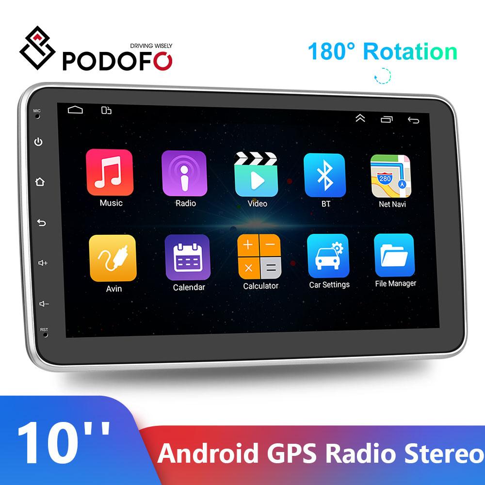 Podofo Android 10'' GPS Radio Stereo 180° Rotating Portrait WIFI FM radio receiver Mp3 Player Auto GPS Navigation Stereo