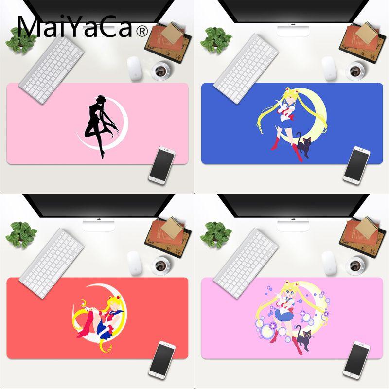 Alfombrilla grande para ratón Anime Sailor Moon, alfombrilla grande de goma para juegos, alfombrilla de velocidad Kawaii XL, alfombra para ratón teclado Borde de bloqueo Otaku, alfombrilla para escritorio de ordenador