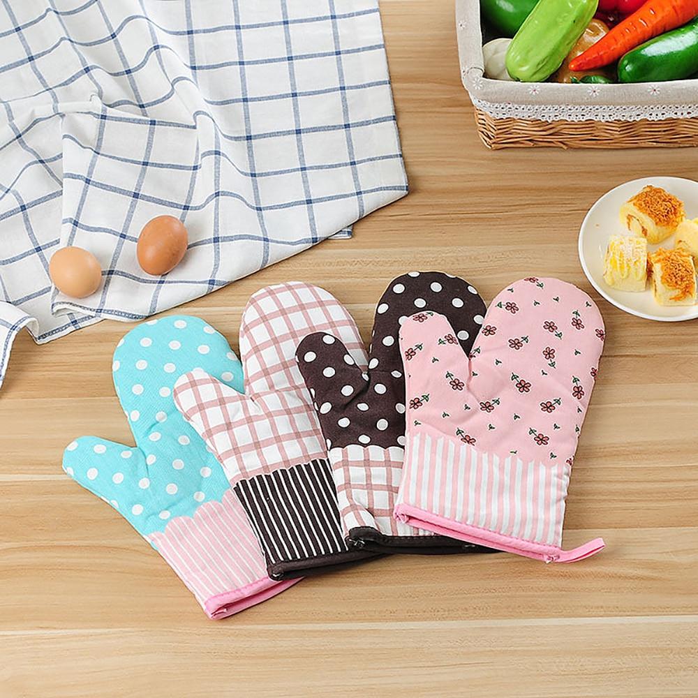 1 par bonito antiderrapante rosa cinza algodão moda nordic cozinha cozinhar luvas de microondas cozimento churrasco podolders forno luvas t