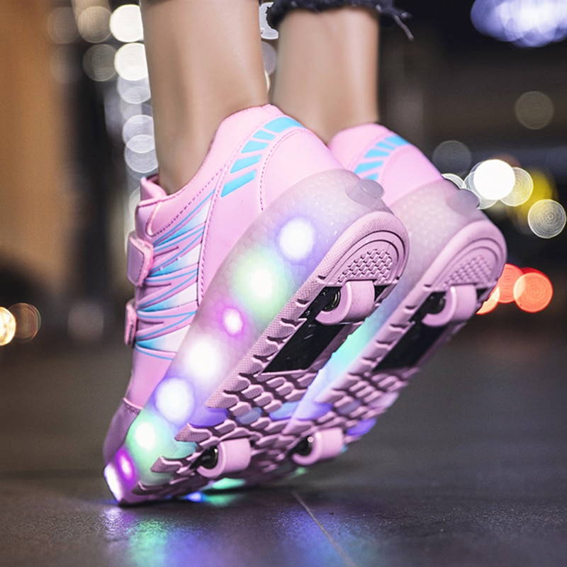Roller Skates Sneakers Shoes 2 Wheels Glowing Light LED Children Boys Girls Kids Child Fashion Pink 2021 Sports Casual Skating