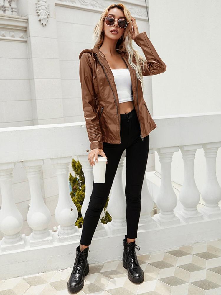Женская Осенняя Новая модная повседневная куртка с капюшоном на молнии с длинным рукавом однотонная женская кожаная мотоциклетная куртка