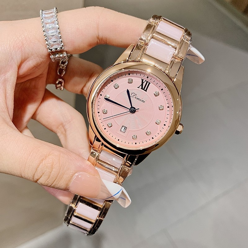 Fashion Pink Ceramic Ladies Watch Women Watches Luxury Quartz Watch Waterproof Female Clock Relogio Feminino Montre Femme + Box