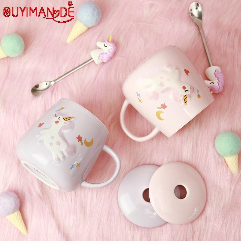 Unicorn Mermaid Coffee Mug with Lid 3D Spoon Ceramic Water Tea Cup Gift for Women Girls Pink 400ml
