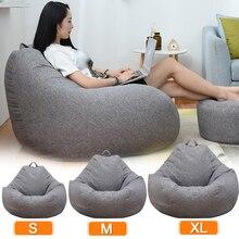 Sofás perezosos grandes y pequeños, cubierta de sillas sin relleno, tela de lino, tumbona, asiento, PUF, Tatami, sala de estar