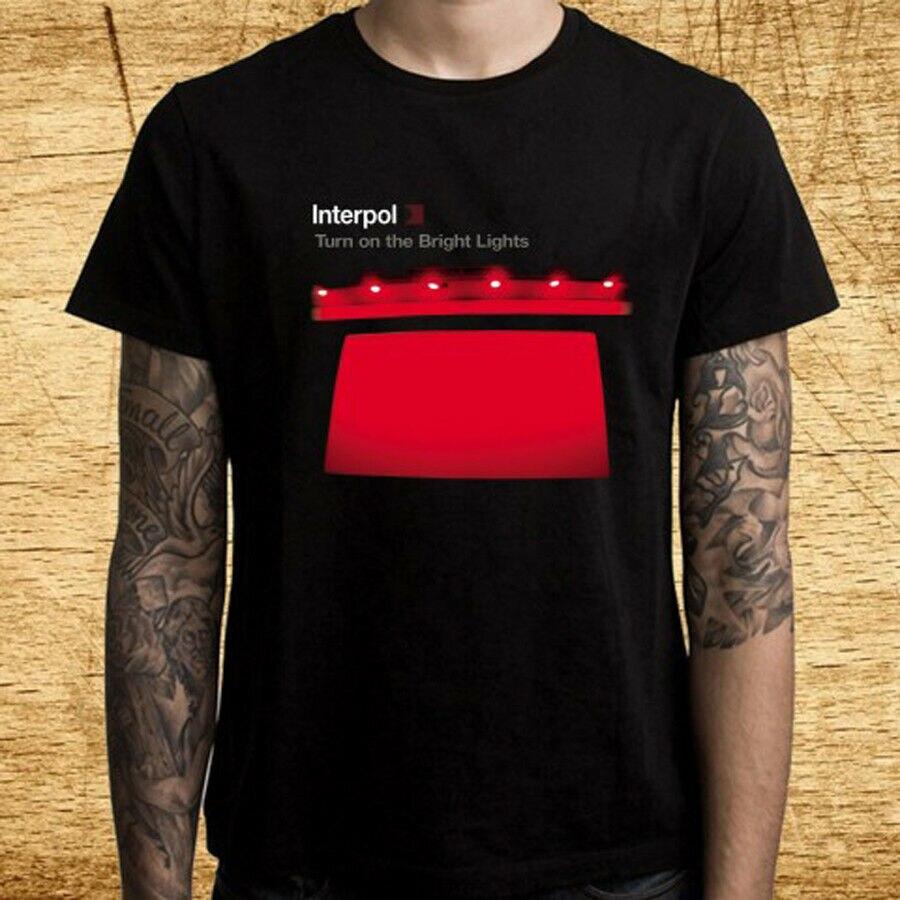 Interpol ligue as luzes brilhantes masculino preto t camisa tamanho s m l xl 2xl 3xl