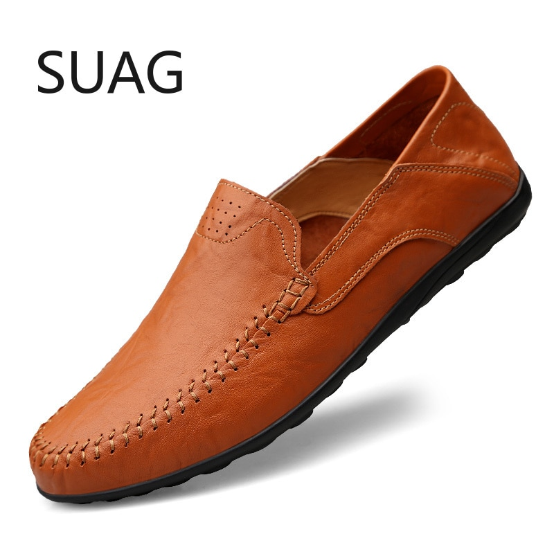 Genuine Leather Mens Shoes Casual Luxury Brand Men Loafers Moccasins Breathable Slip on Male Driving