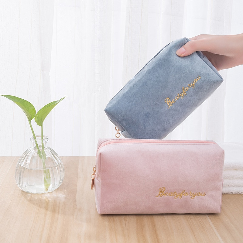 Multifunction Travel Cosmetic Bag Women Makeup Bags Toiletries Organizer Solid Color Female Storage