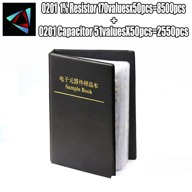 0201 SMD Resistor 0R~10M 1% 170valuesx50pcs=8500pcs + Capacitor 51valuesX50pcs=2550pcs 0.5PF~22uF Sample Book