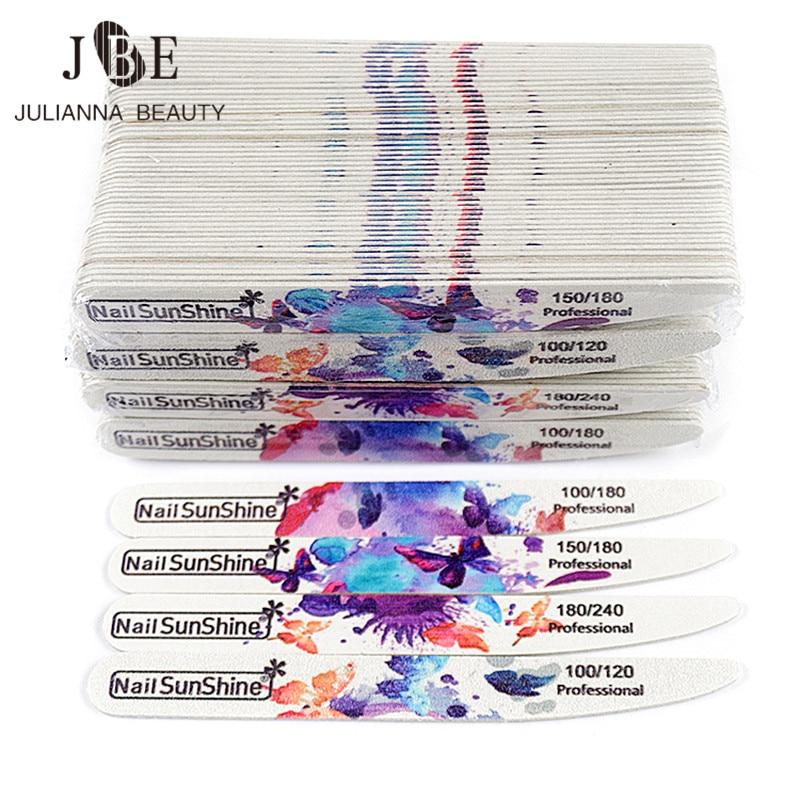 Arquivo de Unhas de Madeira Faca tipo Flor Unha Polonês Arquivos Buffer Bloco 100 – 180 240 Manicure Ferramenta Atacado 200 Pçs Gel uv